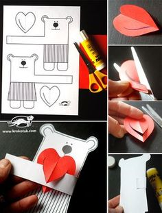 Your kids are going to love making these DIY bookmarks with a twist - just add paint chips and confetti made from tissue paper. Paper Crafts For Kids, Diy For Kids, Diy And Crafts, Valentines Bricolage, Valentines Art, Valentine Activities, Activities For Kids, Mothers Day Crafts, Diy Gifts
