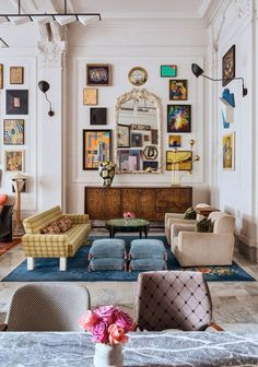 pops of blue in eclectic living room. / sfgirlbybay pops of blue in eclectic living room. / sfgirlbybay pops of blue in eclectic living room. Eclectic Living Room, Eclectic Decor, Living Room Interior, Living Spaces, Eclectic Style, Eclectic Gallery Wall, Quirky Living Room Ideas, Art In Living Room, Eclectic Mirrors