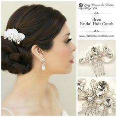 Rhinestone & Pearl Small Bridal Hair Comb by Hair Comes the Bride ~ Bridal Hair Accessories & Jewelry Bridal Hair Flowers, Bridal Hair Pins, Bridal Tiara, Bridal Hair Accessories, Hair Comb, Headbands, Pearl, Bride, Silver