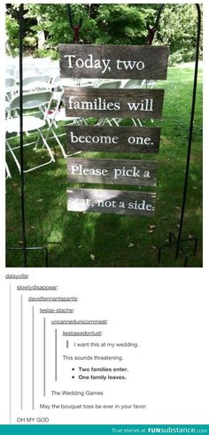 Funny pictures about The wedding games. Oh, and cool pics about The wedding games. Also, The wedding games. Wedding Entrance, Wedding Ceremony, Wedding Seating, Ceremony Seating, Entrance Sign, Ceremony Signs, Outdoor Ceremony, Outdoor Seating, Wedding Venues