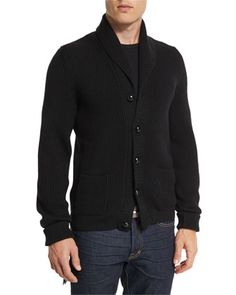 Iconic+Shawl-Collar+Cardigan,+Black+by+TOM+FORD+at+Neiman+Marcus.