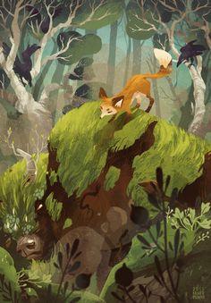 JAZAM cover; artist Maike Plenzke; fox, ravens, forest, moss covered bull