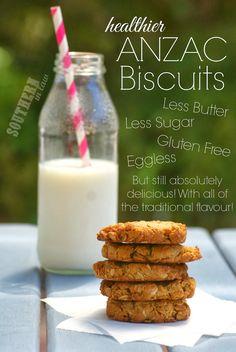 Healthier ANZAC Biscuit Recipe - Gluten free, low fat, low sugar, eggless, freezer friendly, healthy recipe