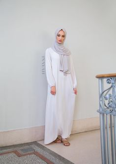 INAYAH | Nude Classic Maxi with Belt (available in various colours) + Feather Grey Rayon Hijab - www.inayah.co