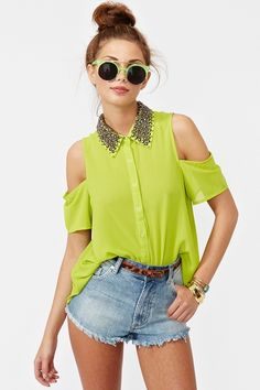 Total Stud Blouse Lime