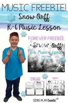 Forever Freebie Snow Music Orff Speech Piece and lessons with 4 Levels for K-6 Adaptation. Body Percussion activities with teaching pages for all learners. Also in Ink Friendly Printing format. Great Winter activity to learn and reinforce music skills or use as a performance piece. Sing Play Create Teachers Pay Teachers Store. #musiceducationusic , #musiclessonplans , #orff
