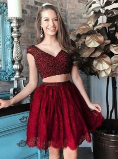 fb5fd29fa48 Red Lace Two Piece V-Neck Cap Sleeves Short Homecoming Dresses with Bead  Belt