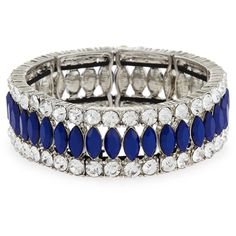 Kenneth Jay Lane Faceted Marquise Crystal Stretch Bracelet ($80) ❤ liked on Polyvore featuring jewelry, bracelets, lapis, facet jewelry, crystal jewelry, blue crystal jewelry, crystal jewellery and crystal bangle