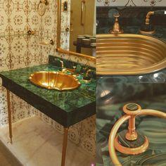 Antique vintage cabinet vanity console dresser , gold leaf sconces ...