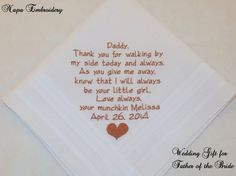 Gifts for Father of the Bride Personalized Wedding Handkerchiefs Dad custom Rolled Hem bride groom parents thank you Etsy Napa Embroidery on Etsy, $24.95