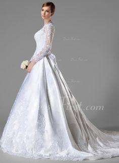 De baile Decote V Cauda longa Cetim Vestido de noiva com Pregueado Renda Curvado (002004745)