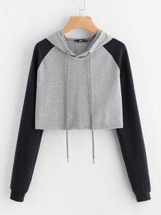 Grey Color Block Raglan Sleeve Raw Hem Crop Hoodie
