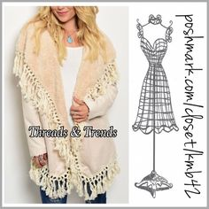"""Suede Shearling Tassel jacket Gorgeous suede jacket featuring shearling lining and tassel trim. Be on trend in this Ivory beauty. Made of cotton/poly blend. Size S/M, L/XL. min bust 38"""" Length 27"""", Max Bust 42"""", Length 29"""". Price is firm unless bundled. Threads & Threads Jackets & Coats"""