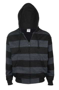 Mens Striper Hoody Charcoal.  The classic stripe hoody in charcoal! 80% cotton & 20% polyester. Soft fleece like inside. Black lined hood. Front zip fastening. Elasticated cuffs and hem. Available in 4 sizes from S-XL.  Casual and cool, this hoody will be worn constantly!