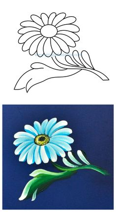 pattern for Bauernmalerei One Stroke Painting, Tole Painting, Fabric Painting, Painting & Drawing, Folk Art Flowers, Flower Art, Painting Lessons, Art Lessons, Fabric Paint Designs