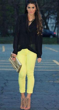Neon yellow.
