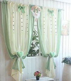 Sweet little design. Curtains And Draperies, Home Curtains, Country Curtains, Kitchen Curtains, Window Curtains, Drapery, Curtain Styles, Curtain Designs, Window Coverings