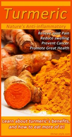 Turmeric is nature's anti-inflammatory! It works similarly to ibuprofen in the body, but has no toxic side effects. It is amazing for reducing inflammation, reducing joint pain, and its super high antioxidant content helps to prevent cancer and other diseases!