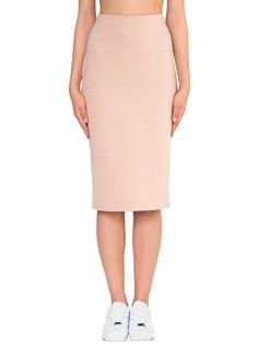#AdoreWe #StyleWe Designer Midi Skirts - Designer Salta Nude H-line Viscose Simple Plain Midi Skirt - AdoreWe.com