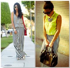 striped pants Maxi Pants, Striped Pants, Flare Jeans, Dress To Impress, Ideias Fashion, Summer Outfits, Stripes, My Style, Dresses