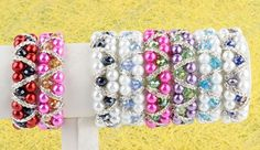 Crystal Glass Pearl Beads Elastic Bracelet Girl Lady Gift Jewerly Pick Colors