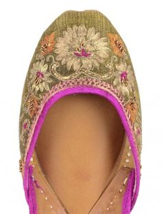 Olive Zari Hand Embroidered Punjabi Jutti - are all hand made in villages in Pakistan and Punjab.
