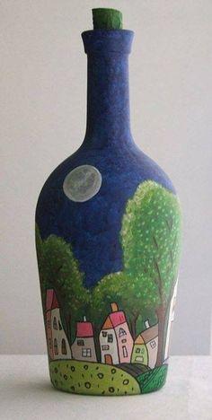 wine bottle little town Wine Bottle Art, Glass Bottle Crafts, Diy Bottle, Painted Glass Bottles, Bottles And Jars, Decorated Bottles, Hand Painted Wine Glasses, Altered Bottles, Bottle Painting