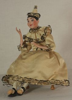 Antique German Bisque Doll Pierrot Seated on Footstool Container C1910 | eBay