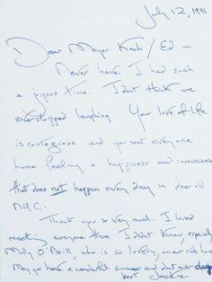 Jacqueline Lee Bouvier Kennedy Onassis | Letter to New York Mayor Ed Koch | Jackie Kennedy | Jackie O. | Jackie Onassis