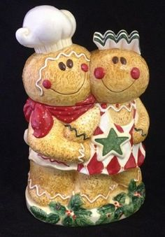 Gingerbread Cookie Jar ~ Gingerbread Couple ~ Boy & Girl Cookie Jar Canister