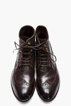 TryAngle Living | Officine Creative: Brown Leather Ignis Wingtip Brogue Boots for Women - TryAngle Living