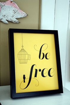 mustard yellow framed bird cage print be by olivetreepapershop, $18.00