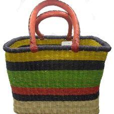 African Bolga Rectangle Basket Large #1 Square Baskets, Large Baskets, Zulu, Tango, Straw Bag, Hand Weaving, African, Leather, Hand Knitting