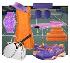 """""""Before & After Playing Tennis"""" by happychristy ❤ liked on Polyvore featuring Twin-Set, NIKE, Asics, jcp, Freelook and Hermès"""