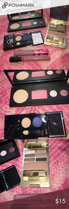 makeup bundle Lancôme, Estée lime crime, Me now New Lancôme palette  dual finish matte buff, blush shimmer pink poodle eyeshadow pink veil, spontaneous. Estée Lauder pure color eye shadow sand bar beige and nocturnal blue. Estée Lauder palette with 6 eyeshadows and 1 bronze shimmer. Including free gift of Lime crime long lasting lipstick in cashmere and Me now long lasting liquid lip gloss in peachy nude. Lancome Makeup Eyeshadow