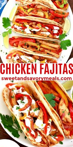 Chicken Fajitas are a fiesta of succulent meat, zesty and bold seasonings, plus assorted veggies and delicious toppings. #chicken #chickenfajitas #mexicanfood #sweetandsavorymeals #chickenrecipes