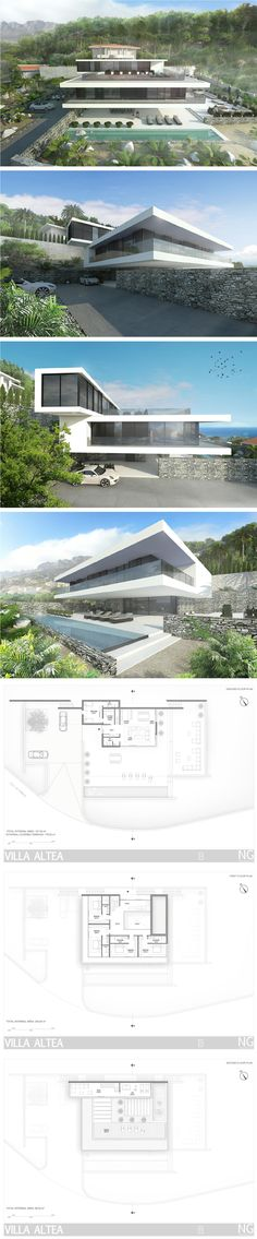modern villa in Altea, Spain by NG architects www. Contemporary Architecture, Amazing Architecture, Interior Architecture, Villa Design, Modern House Design, Modern Exterior, Exterior Design, House Ideas, Modern Buildings