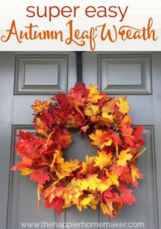 Super Easy DIY Autumn Leaf Wreath Tutorial-this is the easiest craft idea ever! Perfect addition to my porch decor! : Super Easy DIY Autumn Leaf Wreath Tutorial-this is the easiest craft idea ever! Perfect addition to my porch decor! Easy Fall Wreaths, Diy Fall Wreath, Fall Diy, How To Make Wreaths, Yarn Wreaths, Winter Wreaths, Floral Wreaths, Spring Wreaths, Summer Wreath
