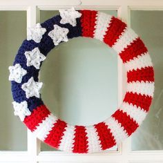 Give your home a patriotic flair with this fun American Flag Wreath … FREE Crochet Pattern!