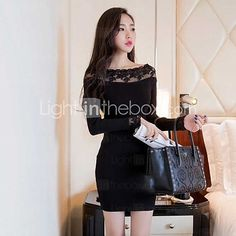 Women's Vintage/Sexy/Bodycon/Casual/Lace/Party/Work Micro-elastic Long Sleeve Mini Dress (Lace/Cotton) - USD $15.99