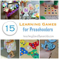 Looking for fun learning games that preschoolers will love? Here are 15 fun ideas! Teaching 2 and 3 Year Olds