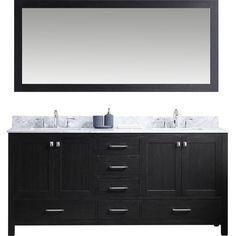"Stoneham 72"" Double Bathroom Vanity Set with White marble and Mirror by Latitude Run"