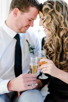 Cheers to us! Check out this timeless engagement photography shoot with a nod to 1940's inspired details!