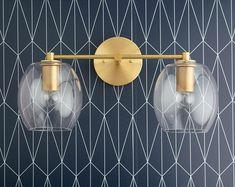 Clear Globe Vanity Light – Open Globe – Brass Vanity – Bathroom Fixture – Brass Bathroom Light – Glass Globe – Model No. Art Deco Vanity, Art Deco Bathroom, Gold Bathroom, Brass Bathroom Fixtures, Light Bathroom, Bathroom Inspo, Bathroom Hanging Lights, Vanity Light Fixtures, Bathroom Basin