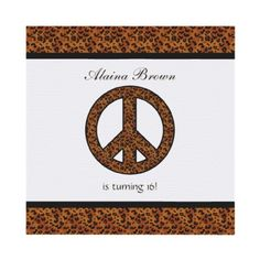 Leopard Print Peace Sign Birthday Party Invitation by SayItNow