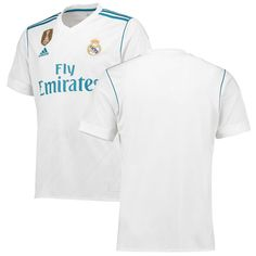 3d929be82 Real Madrid adidas 2017 18 Home Replica Patch Blank Jersey - White