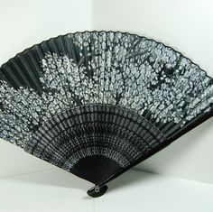 Vintage Japanese Painted Silk Hand Fan - Black and White