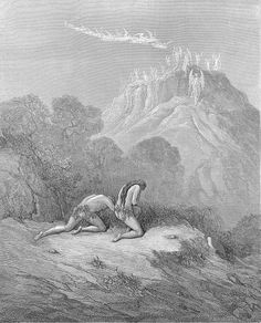 """Gustave Dore - Illustration to Paradise Lost by John Milton - 46 - """"He err'd not, for by this the heav'nly Bands Down from a Skie of Jasper lighted now In Paradise, and on a Hill made alt, A glorious Apparition, had not doubt And carnal fear that day dimm'd Adams eye."""""""