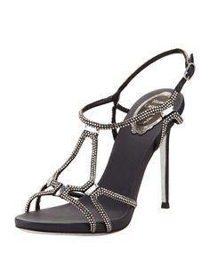 f9b2de4fe9221 Rene Caovilla High-Heel Slingback Sandal with Crystals