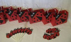 Ladybug Party Pack - Centerpiece, Favor Bags, etc - 27 pieces via Etsy